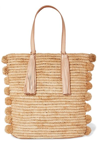 Beige raffia and leather (Cow) Magnetic fastening at open top Comes with dust bag Weighs approximately 2.2lbs/ 1kg