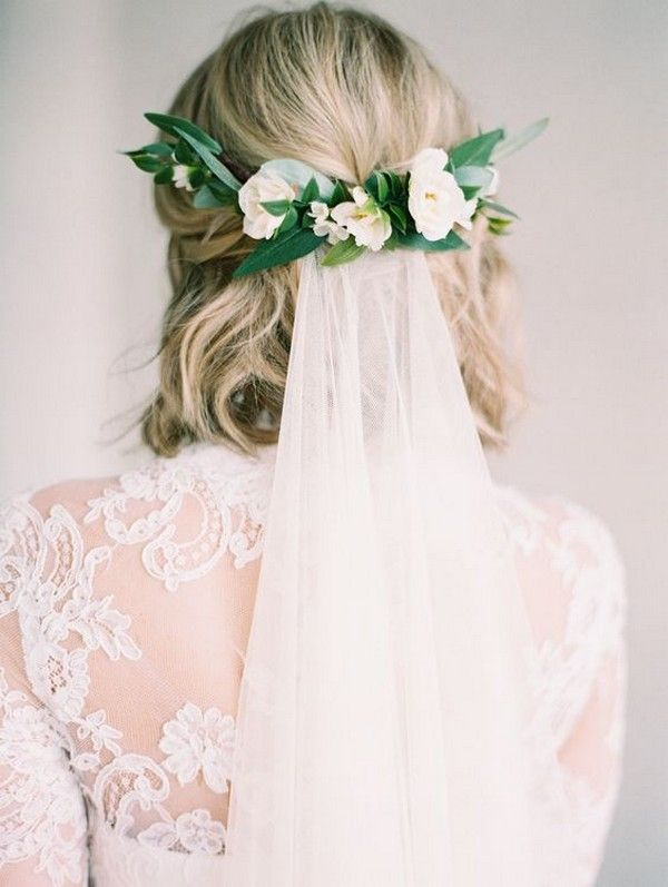Medium Wedding Hairstyle With Flower Crown And Veil Short Bridal Hair Short Hair Bride Short Wedding Hair