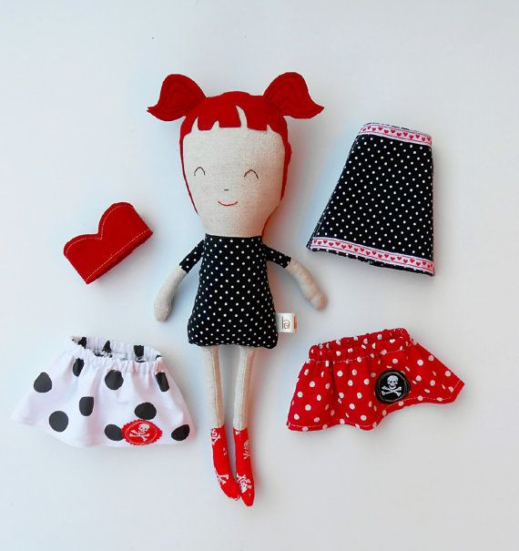 Pin up doll rockabilly doll dress up doll fabric by LaLobaStudio