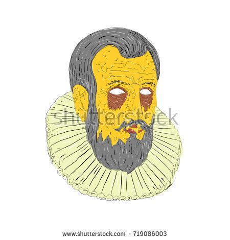 Grime art style illustration of head of a Nobleman, aristocrat, royal explorer Wearing Ruff ruffled Collar on isolated background.  #aristocrat #grimeart #illustration