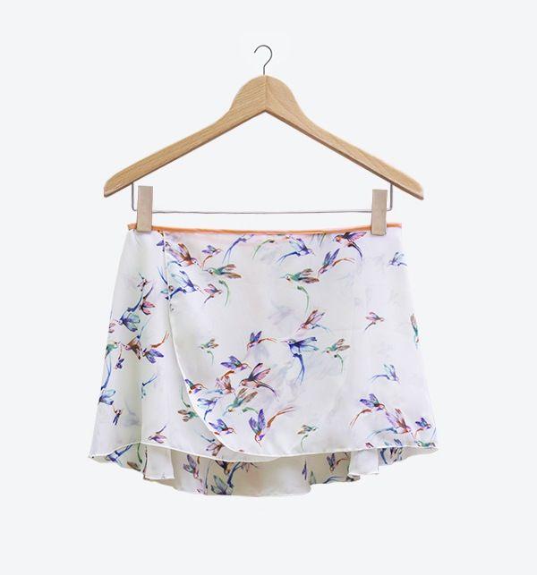 Chiffon Ballet Wrap Skirt - Hummingbirds - White/Pink Trim by Cloud