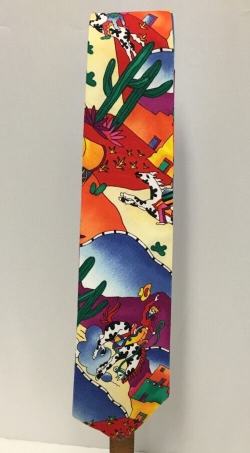 "Tie-Juan Southwestern Cotton Tie in Southwestern motif. Painted quarter horses, cactus, colorful Cowboys and adobe houses. Length: 58.5""; Width: 3 3/4"". Designed by B.J. Hood, Santa Fe, NM. | eBay!"