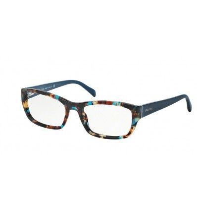 da5645ab32f6 Brand:Prada; Model:PR 18OV; Color code:NAG1O1; Category:Eyeglasses;  Gender:Woman; Shape:rectangle; Frame color:Havana Spotted Blue; Lens  color:demo lens;