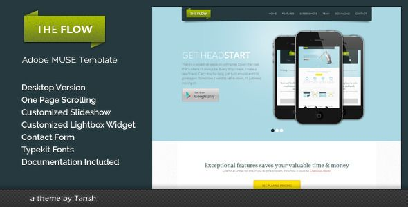 The Flow One Page Muse Template - Landing Muse Templates