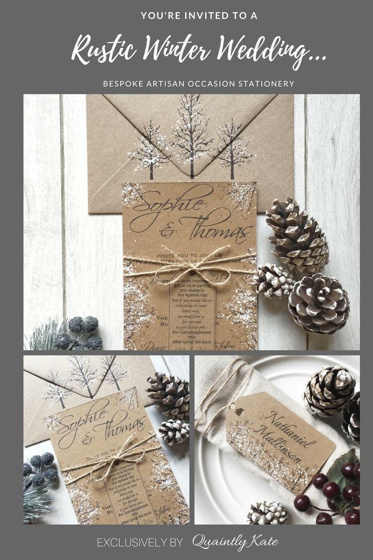 Sample Rustic Winter Wedding Invitation Rustic Wedding Winter
