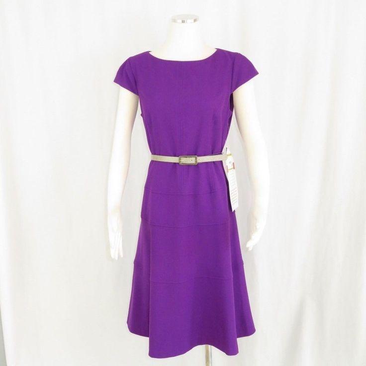 f6d2884ab0 Anne Klein Size 14 Dress Purple Cap Sleeve Belt Lined Stretch Boat Neck   Kasper  SheathDress  Work