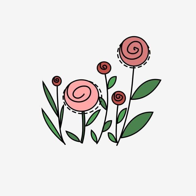 نباتات خضراء ورود وردية فن صغير بسيط ورود وردية ملونة روز Png وملف Psd للتحميل مجانا Flower Drawing Cartoon Flowers Green Plants