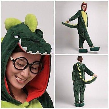 Cute Green Dinosaur Adult Coral Fleece Kigurumi Pajamas Animal Sleepwear