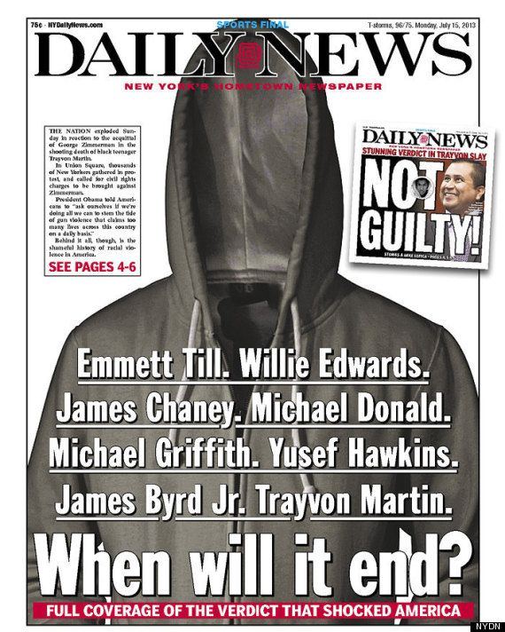 NY Daily News' Powerful Trayvon Martin Front Page |  07/15/2013