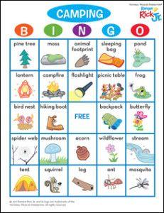 Camping Bingo Card BingoCamping