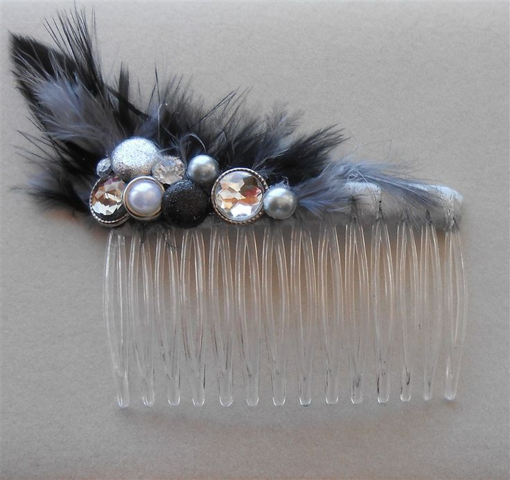 Black Gray Comb Feather Rhinestone Decorative Combs 1920 Style Headpiece, Wedding Prom Special Occasion Hair Accessories by NeedleCraftNook on Etsy