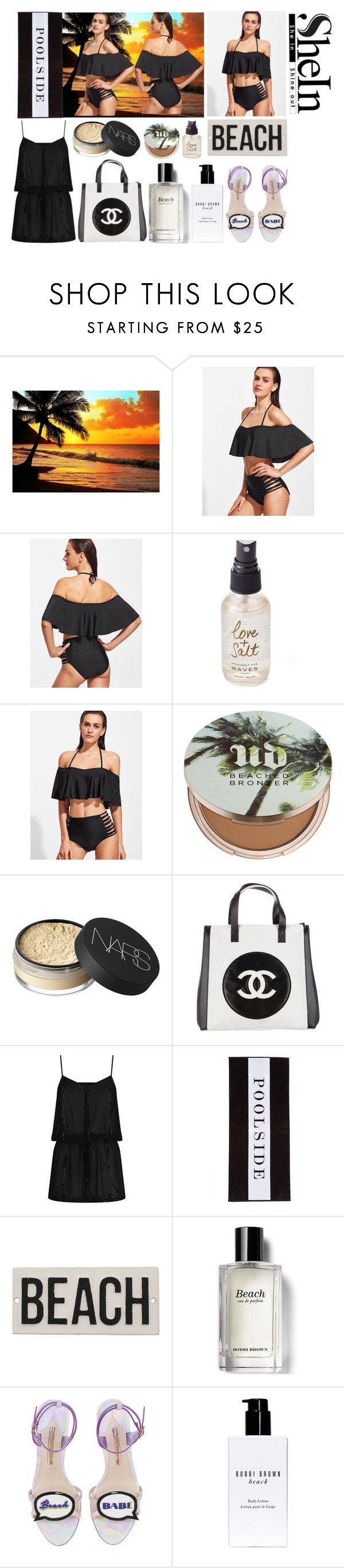 """Black Halter Ruffle Ladder Cutout Bikini Set"" by igiulia on Polyvore featuring Olivine, Urban Decay, NARS Cosmetics, Chanel, ELIZABETH HURLEY beach, Chance, HomArt, Bobbi Brown Cosmetics and Sophia Webster"