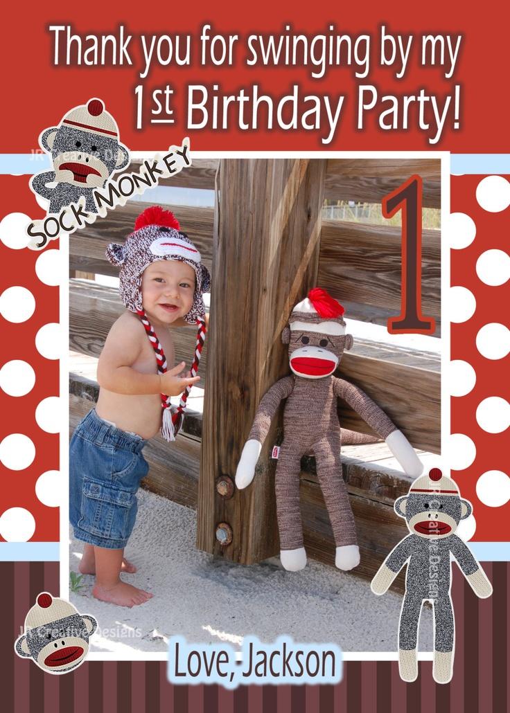 Sock Monkey thank you Boy - Sock Monkey thank you - 1st Birthday Party thank you - Sock Monkey Birthday  - Sock Monkey Party. via Etsy.