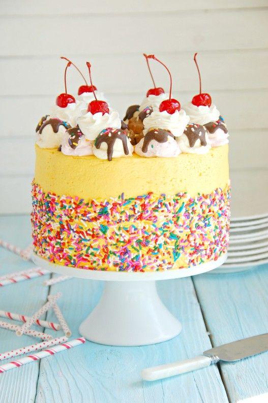 Banana Split Mousse Cake   thekitchenmccabe.com
