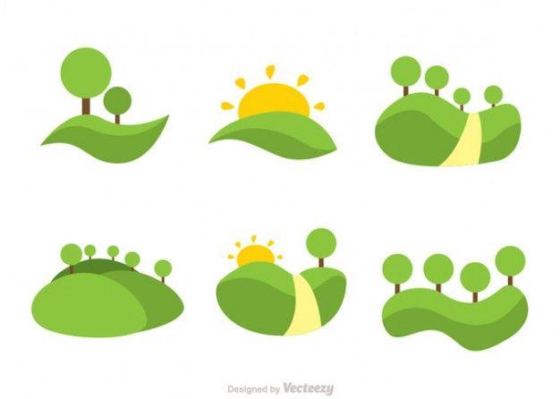 Montanhas de rolamento verdes Vetor grátis