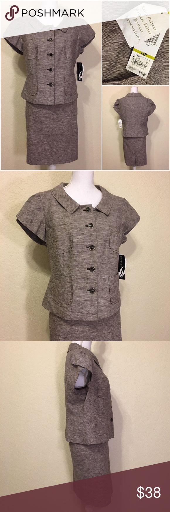 """NWT Nine West Brown & Cream Skirt Suit Set Size 14P.  MSRP $200.  Cocoa & ivory striped.  Body: 54% linen, 44% cotton, 2% spandex.  Lining: 100% polyester.  Dry clean only.      Jacket - Brown contrast stitching.  Petal sleeves.  Tortoise shell button front.  Two breast and front pockets.  Lined.  Length shoulder to hem: 21.5"""".  Bust: 40"""".  Waist: 40"""".  Hips: 42"""".  Shoulder width: 16.5"""".  Sleeve length: 5"""".       Skirt – Back skirt slit.  Length: 21"""".  Waist: 34"""".  Hips: 42"""".  Bottom of…"""