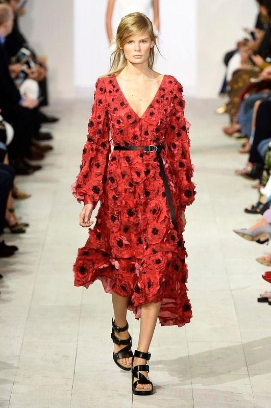 Michael Korks pv2016 vestido floral rojo