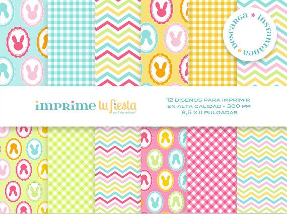Kit Papeles Digitales Conejitos Siluetas 03  por ImprimeTuFiesta