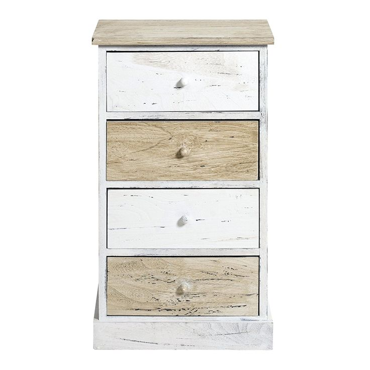 rebecca srl table de nuit chiffonnier 4 tiroirs rebecca natural bois clair blanc vintage chambre