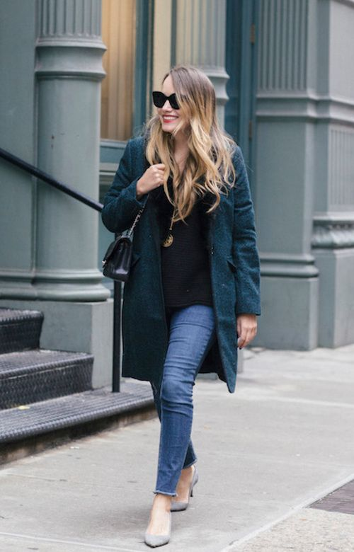 Shop this look at The Stripe Store #blouse #sweater #blacksweater #coat #greencoat #jeans #skinnyjeans #bluejeans #pumps #suedepumps #greysuedepumps #bag #shoulderbag #leatherbag #accessories #sunglasses #cateyesunglasses #necklace @thestripe #onlineshopping #lookave #onlineshopping #style #ootd #streetstyle #fashion #outfit