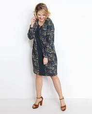 Kaki jurk met tropische print Te koop bij JBC