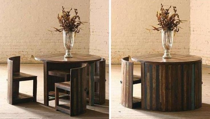 Hidden Chairs Table Saving Space Pinterest
