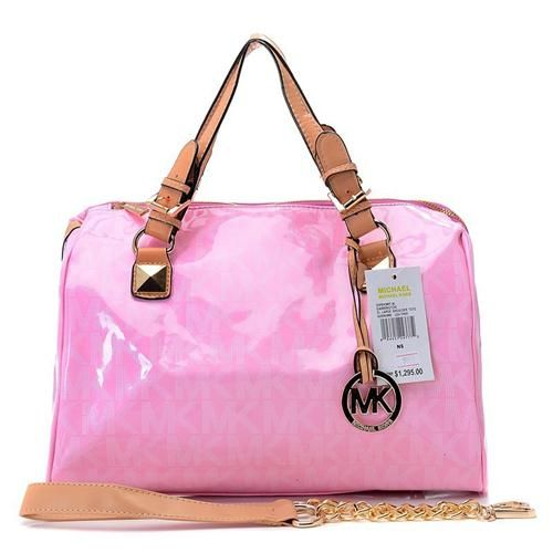Welcome To Our Michael Kors Patent Leather Logo Large Pink Satchels Online Store