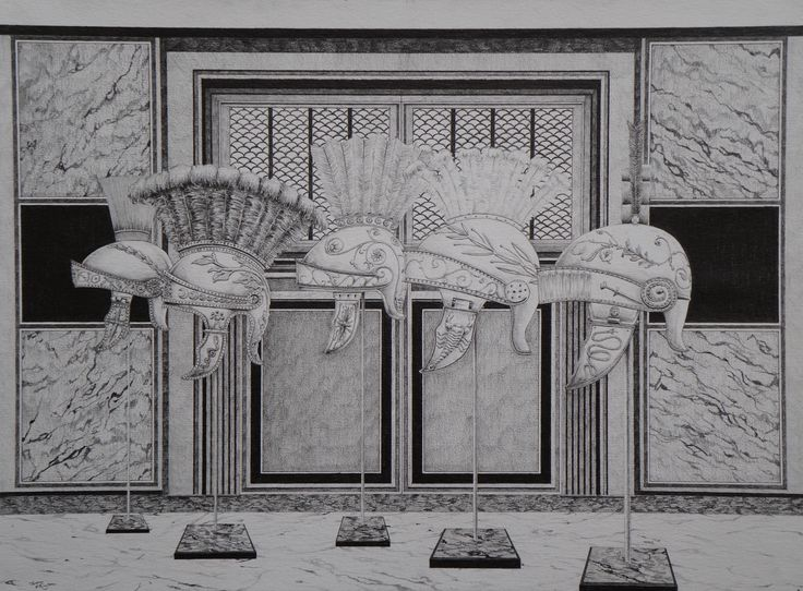 """""""Helmets of the Emperor"""", grey lead on paper, 40 x 29.7cm."""