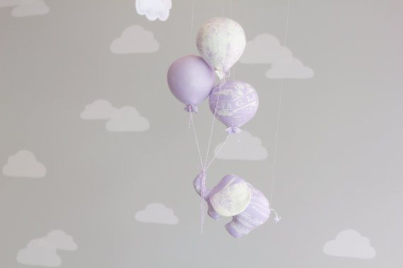 Elephant Baby Mobile, Balloon Mobile, Nursery Decor, Circus Theme, Lavender Nursery Decor, i36