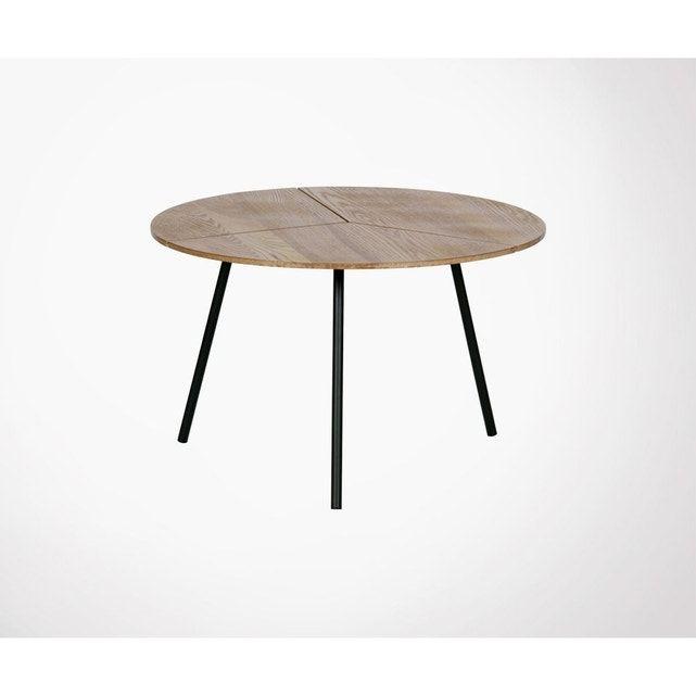 Table Basse Ronde En Chene Et Metal Rodi Woood La Redoute Table Basse Ronde Table Basse Style Scandinave Table Basse