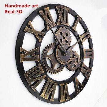Ручной негабаритных 3D ретро деревенский декоративной роскошный искусство большой передач деревянные старинные большие настенные часы на стене для подарка
