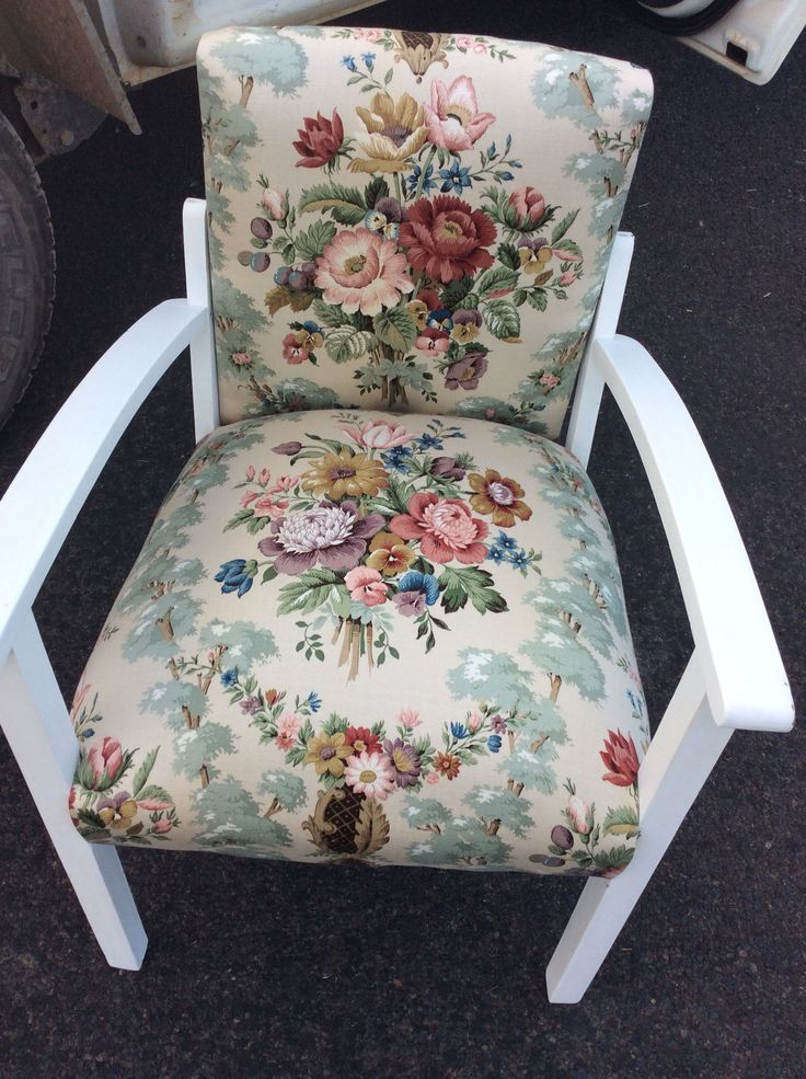 Chalk painted vintage Sanderson fabric upholstery