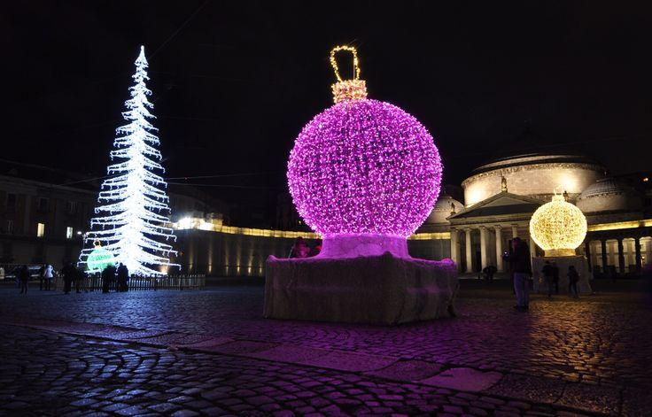christmas decoration in Piazza Plebiscito in Naples, Italy