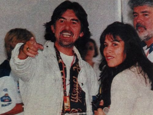 """thateventuality: """" George and Olivia Harrison, and George Lucas, Formula 1 Grand Prix, 1990s (no photo source, unfortunately; this is a cell phone snap from one of my scrapbooks) """" """"There were traces of him everywhere; chord sequences and tablatures..."""
