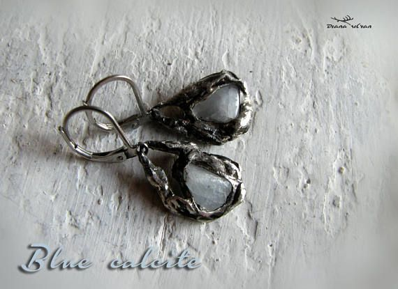 Raw blue calcite earrings in  ancient look hangings 316