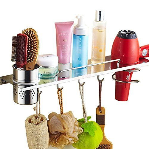 LingStar 304 Stainless Steel Hair Styling Storag,Multifunctional Bathroom Organizer Collection Storage, Hair Dryer Holder with Canister and Towel Hooks (Gold). 100% brand new and high quality. Apply to bathroom, bedroom, dressing room. Durable and exquisite, high temperature resistance bathroom storage.