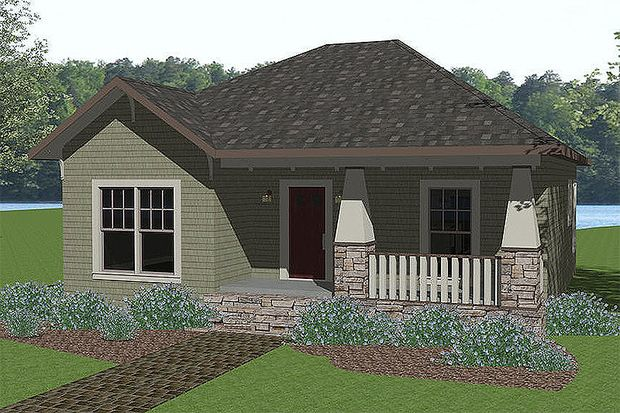 Cottage Style House Plan - 2 Beds 2 Baths 1073 Sq/Ft Plan #44-178 Front Elevation - Houseplans.com