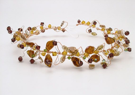 Full bridesmaids hair vine made on 'old gold' wire with rich brown, green and burgundy colour scheme. Together the leaves and crystals had a wonderful autumn feel!