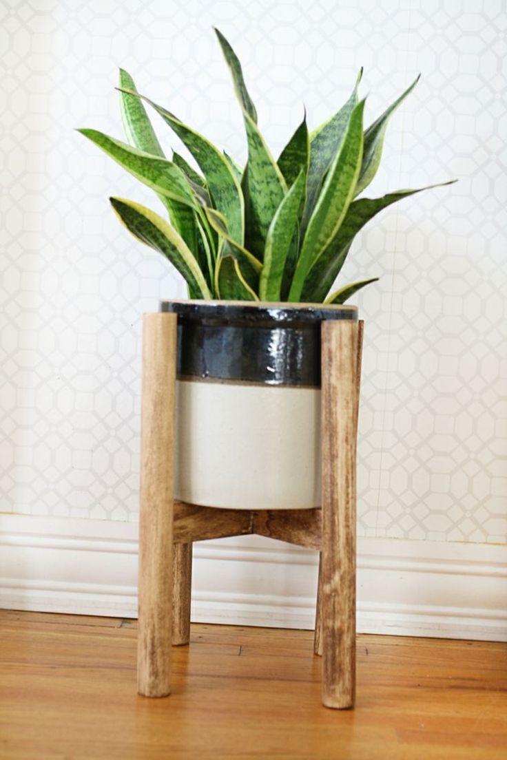 etagere bois porte plante moderne