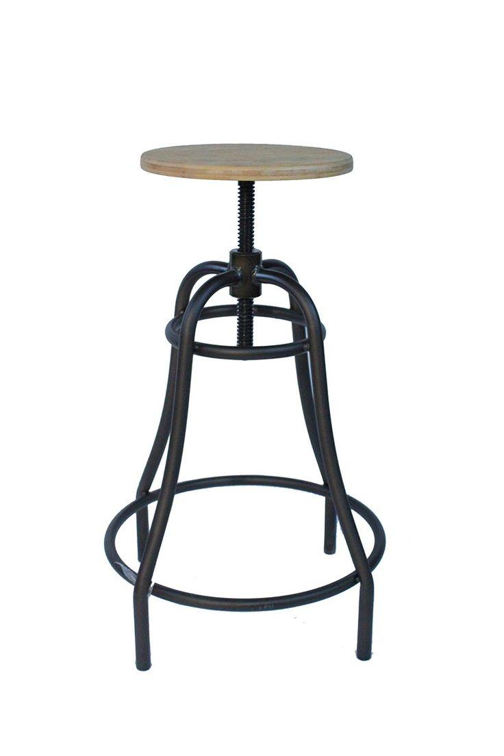 Tarapo Vintage Industrial Style Retro Kitchen Breakfast Bar Stool Natural  Seat Height Adjustable