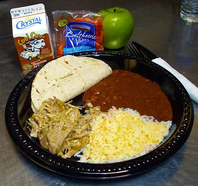 "Home-style Chile Verde, Beans and Rice from USDA commodity foods. Fresh tortillas delivered while still warm from La Plaza Bakery (Can you say ""locally sourced""?) (From Gonzales Unified, Monterrey, California)"