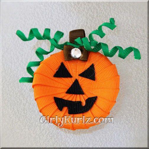 JackOLantern Hair Clip Halloween Hair Clip Pumpkin by GirlyKurlz, $7.50
