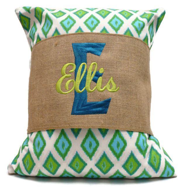 monogrammed burlap pillow wrap