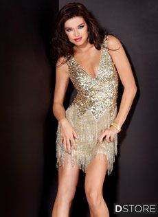 Vestido de paetês e saia em franja de miçangas Leslie 171627 : Dstore Miami, Vestidos de Festa Importados