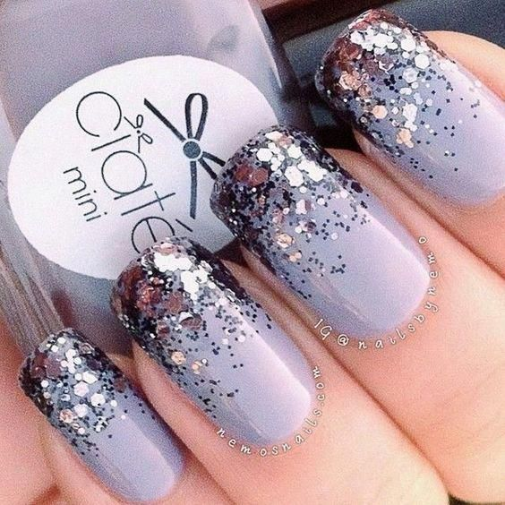 Purple Glitter Tips Nail Design. #peachnails   – peach nails