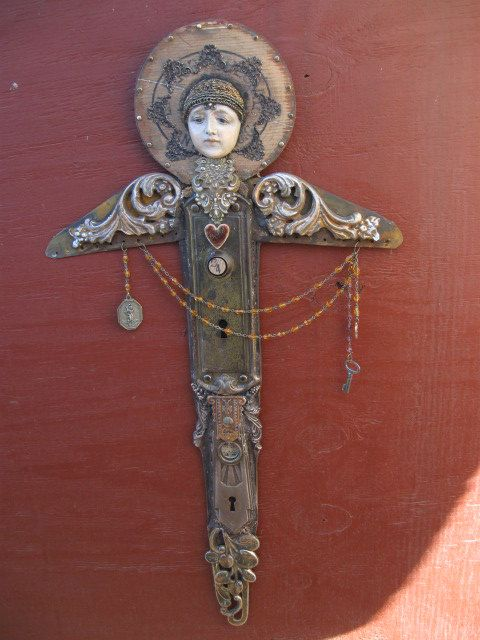 Salvage Angel mixed media assemblage art doll by OhMyGypsySoul, $265.00 I like these but w/o the faces (they creep me out)