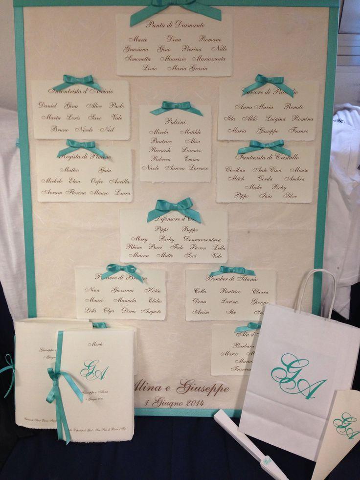 Tableau Mariage tiffany Style con carta Amalfi è coordinato libretto messa, menù, Wedding bag, conetto riso e ventaglio.