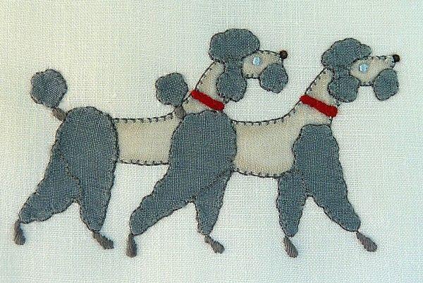 Embroidered Poodles  Em's Heart Antique Linens -Vintage Madeira Embroidered Linen Cocktail Napkins