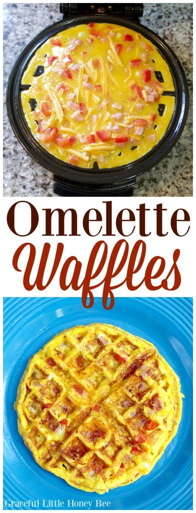 Omelette Waffles: Turn on waffle maker and spray with non-stick cooking spray. Whisk eggs and milk in a small bowl. Stir in the rest of the ingredients. When waffle maker is hot, dump egg mixture onto the iron and shut. Let cook 2-3 minutes or until eggs are cooked through.