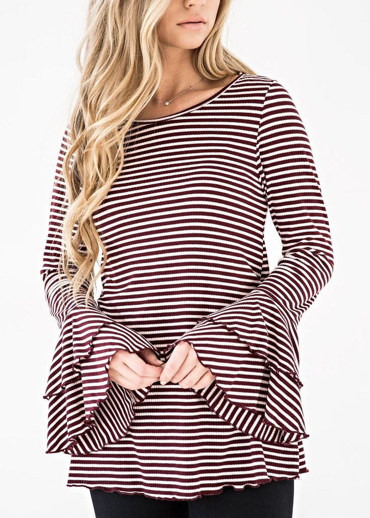 Brandy Bell Striped Top, blonde, makeup, jessakae, womens fashion, fashion, style, ootd, womens style, winter fashion